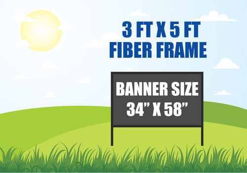 3 FT X 5 FT FIBER FRAME BANNER STAND HOLDS A 34 INCH X 58 INCH BANNER