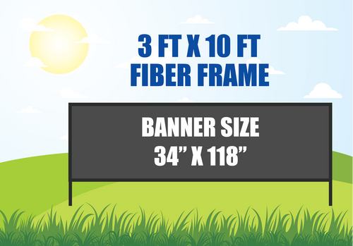 3 FT X 10 FT FIBER FRAME BANNER STAND HOLDS A 34 INCH X 118 INCH BANNER
