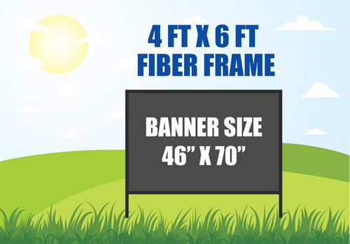 4 FT X 6 FT FIBER FRAME BANNER STAND HOLDS A 46 INCH X 70 INCH BANNER