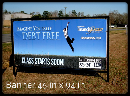 4 ft x 8 ft fiber frame in ground unit. Banner 46 inch vertical x 94 inch horizontal