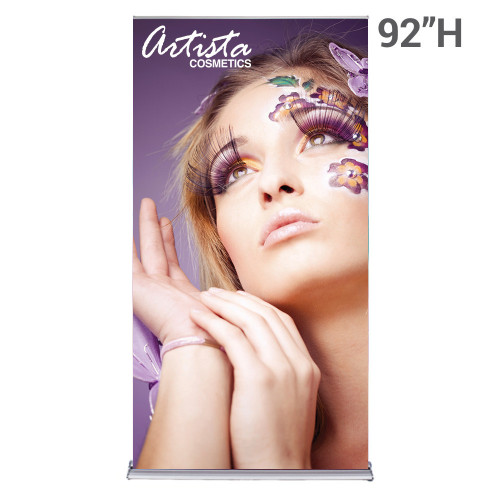 48 inch x 92 inch silver display roll up retractable banner stand