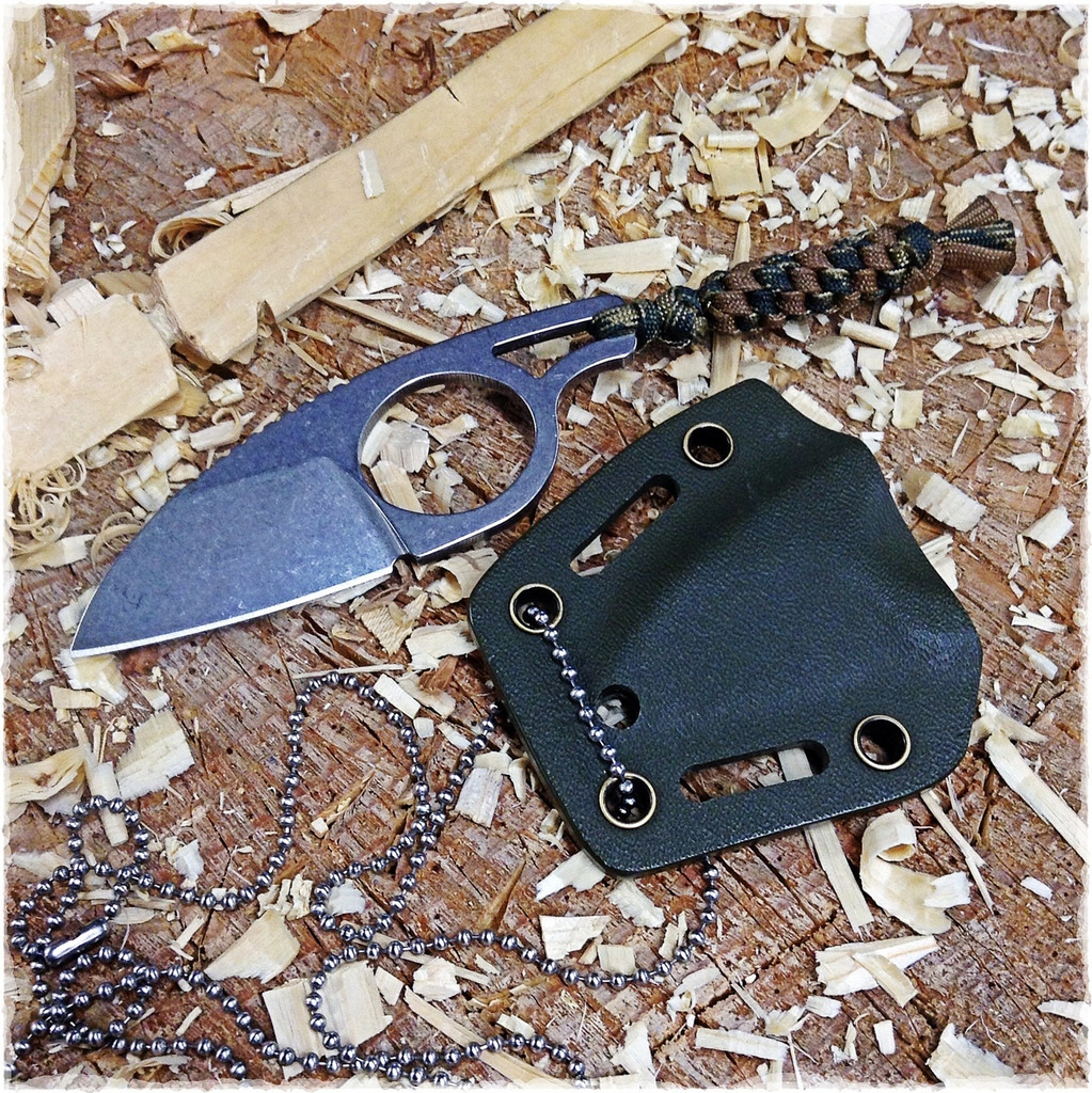 Necker with its OD Green Kydex sheath using a neck chain instead of the provided clip.