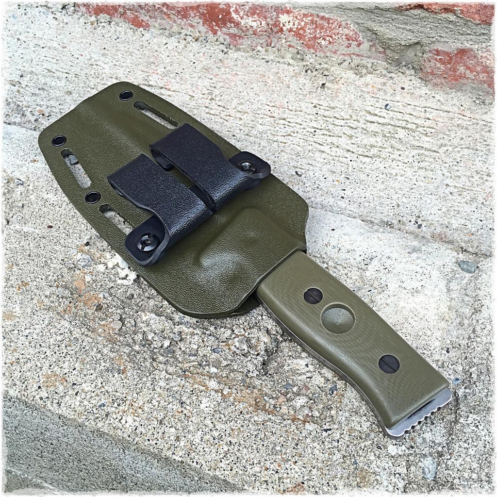 Green Kydex sheath on a GSO-5
