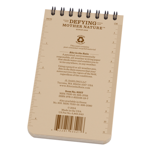 Back of Tan Pocket Notebook