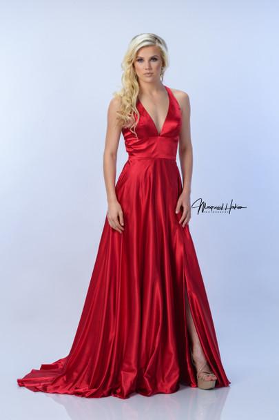 The Andri Satin Dress with slit