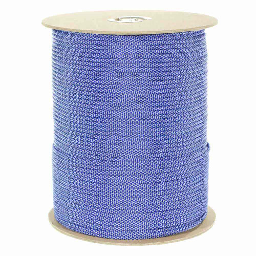 Silver Gray with Electric Blue Diamonds 550 Paracord (7-Strand) - Spools