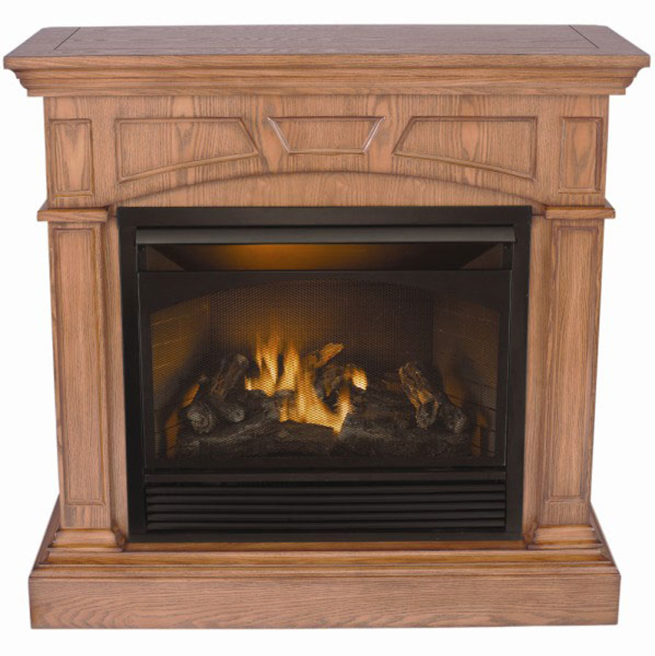 Pro Com Vent Free Dual Fuel Fireplace With Oak Cabinet 32