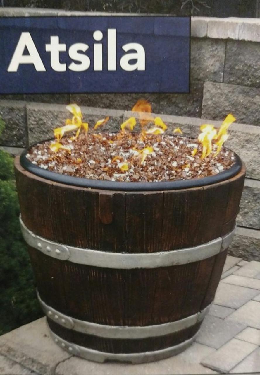 Atsila Gas Wine Barrel Fire Pit, Hudson River Stove Works - Atsila Wine Barrel Gas Fire Pit