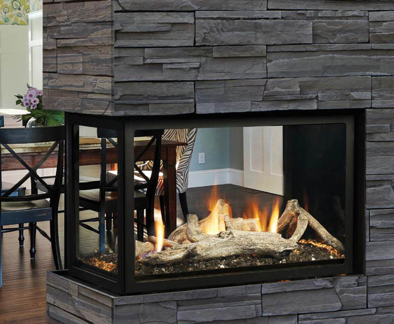 Beautiful Kingsman MCVST42 Zero Clearance Direct Vent Peninsula Gas Fireplace