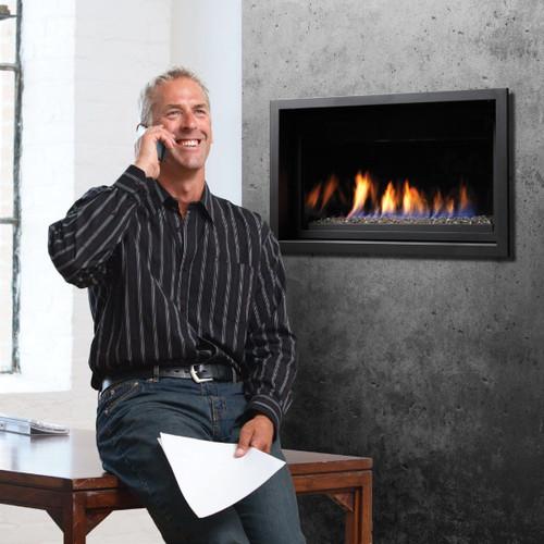 """Kingsman 36"""" Linear Gas Fireplace Package"""