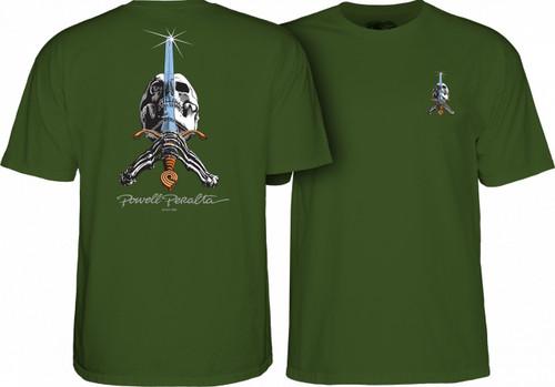 Powell Peralta Old School Skull & Sword T-Shirt (Olive)
