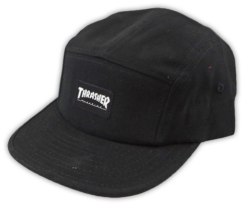Thrasher 5 Panel Black Snapback Hat