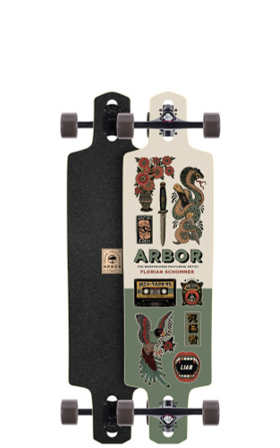 """Arbor Dropcruiser AC Longboard 9.5"""" X 38"""" (Available as Deck or Complete) FREE USA SHIPPING"""