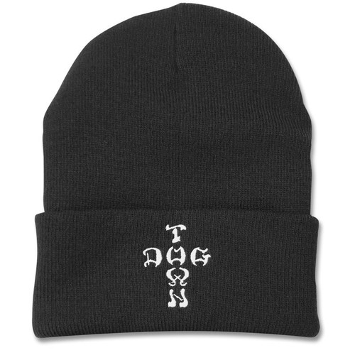 Dogtown Cross Letters Embroidered Beanie Black