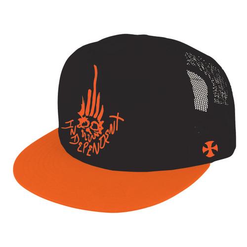 Independent Jessee Man Club Trucker Mesh Snapback Hat Black/Orange