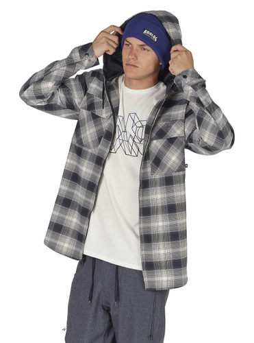 Men's Analog ATF Kaiden Hooded Flannel (True Black Pacific Plaid) FREE USA SHIPPING