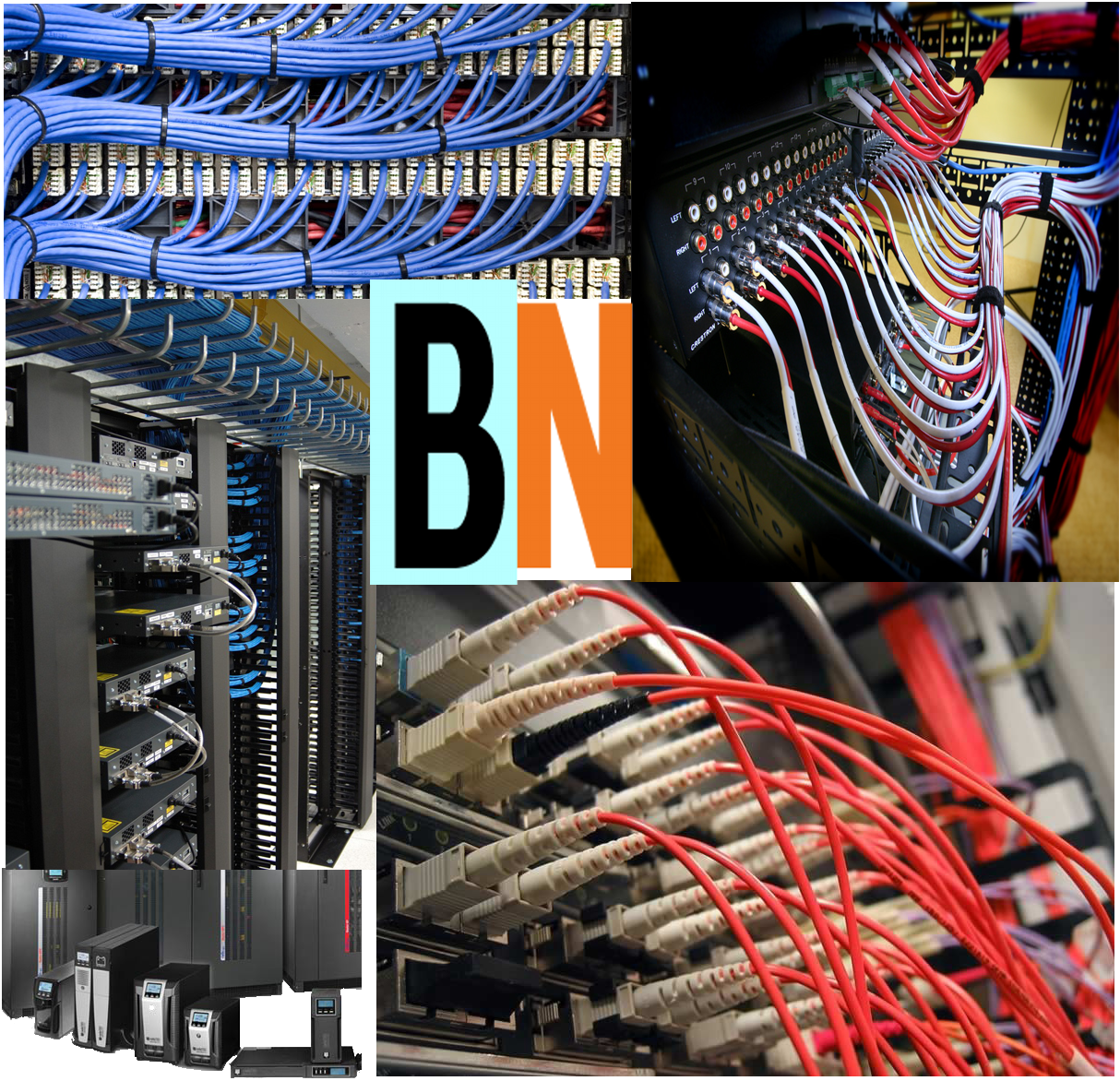 Infrastructure cabling fiber, CAT5 CAT6 Rack and stack