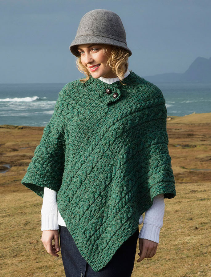 Wool poncho, knitted poncho, cable knit poncho | Glenaran