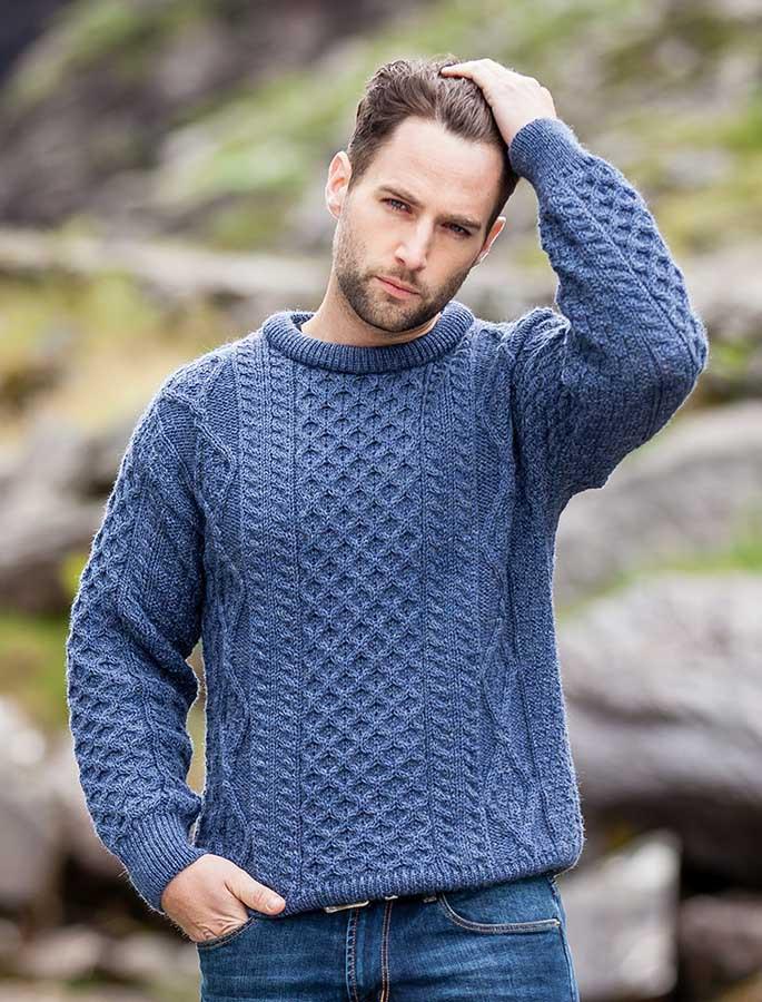 Wool Sweater Grey: Men's Irish Sweater, Mens Fisherman Sweaters, Wool Sweater