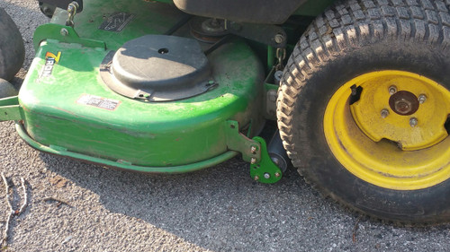 "Customer supplied photo of Turf Striper mounted on JD 737 60"" 7 Iron deck 2004 model year"