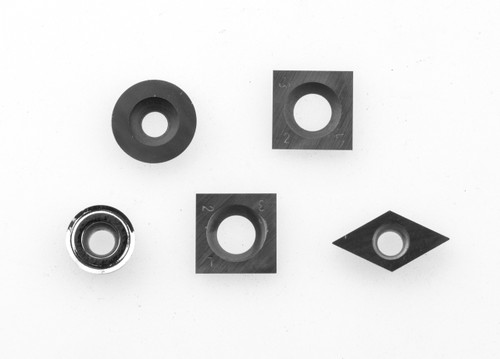 Package of 5 carbide cutters for full size tools. Shown with 90° square cutter for the Simple Rougher.