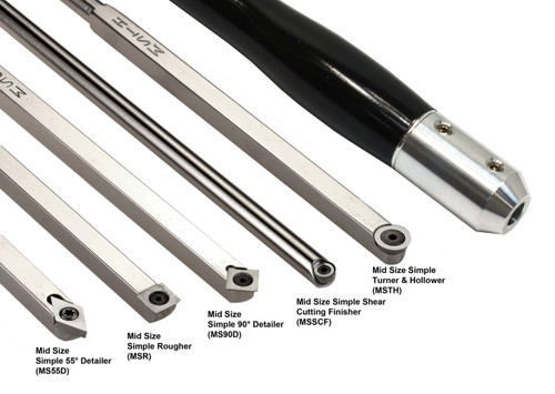Mid Size Package of 5 Carbide Simple Woodturning Tools with Interchangeable Lathe Tool Handle