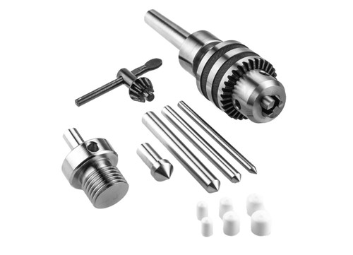 Live Tailstock Drill Chuck Kit with Chuck Reversing Adapter for Woodturning Lathe MT2