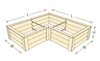 L-Shaped Raised Garden Bed with Trim Pack