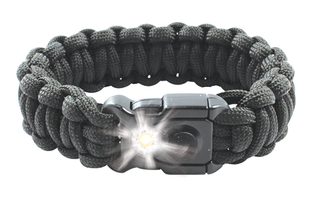 Paracord bracelet with built-in LED light