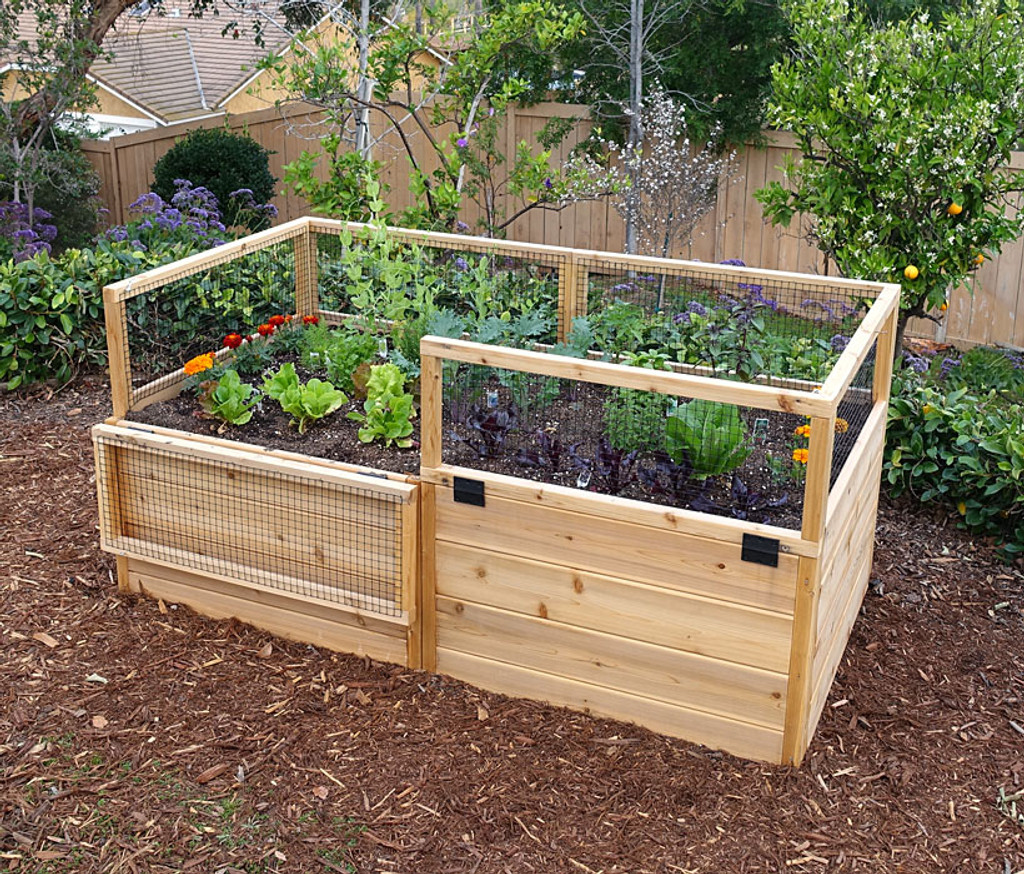3 x 6 raised garden bed with hinged fencing - Garden Bed