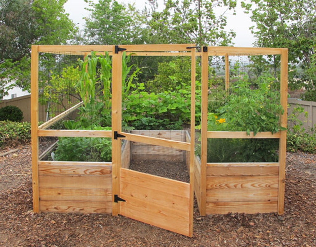 Deer Proof Cedar Complete Raised Garden Bed Kit   8u0027 X 8u0027 ...