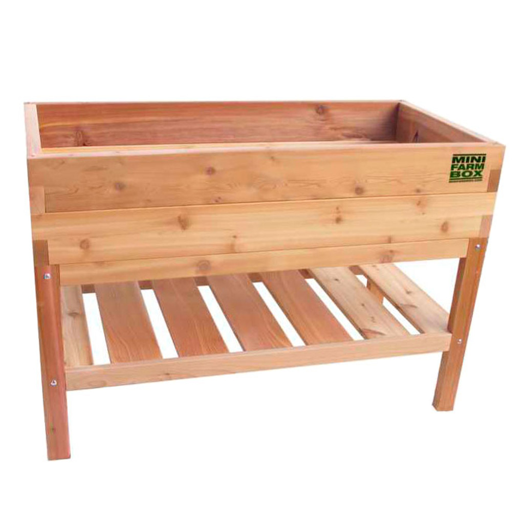 Rock-solid Cedar Planter with Bottom Shelf