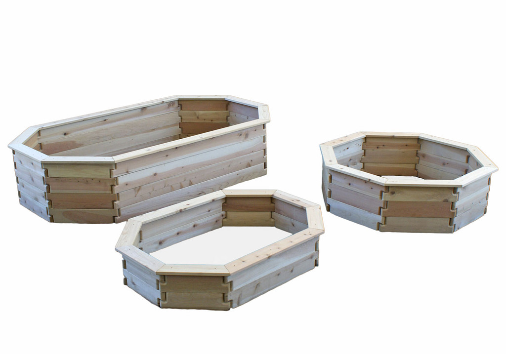 Natural Cedar Octagon Raised Garden Beds with Trim option