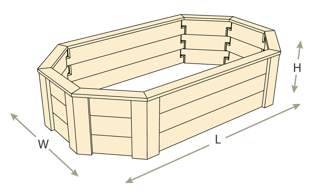 Octagon Raised Garden Bed with Trim