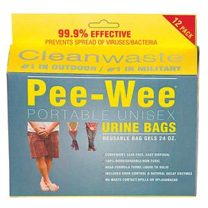 Pee Wee Portable Unisex Urine Bags - 12 Pack