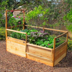 3' x 6' Raised Garden Bed with Fence and Trellis