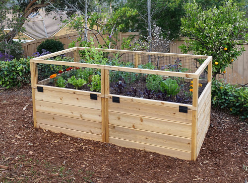 3' x 6' Raised Garden Bed With Hinged Fencing