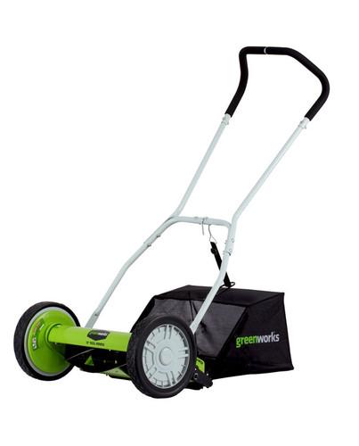 "Greenworks 16"" 5-Blade Push Reel Lawn Mower with Grass Catcher"