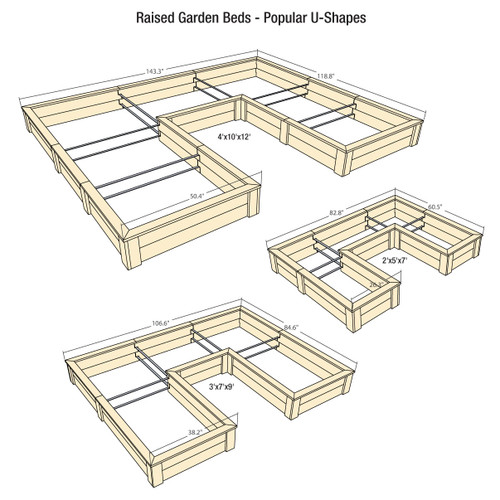 Natural Cedar U-Shaped Raised Garden Beds