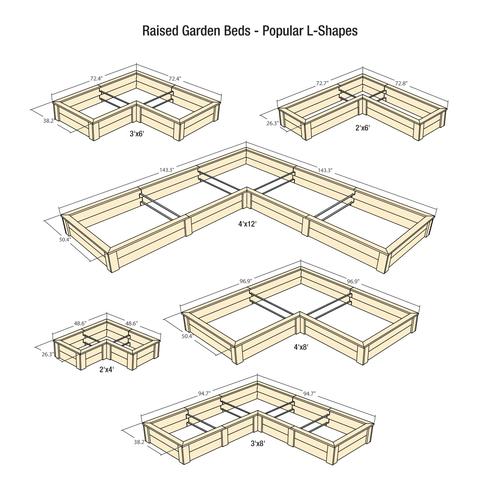Natural Cedar L-Shaped Raised Garden Beds