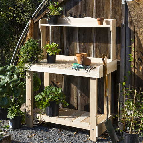 Rustic Cedar Potting Bench Eartheasy Com
