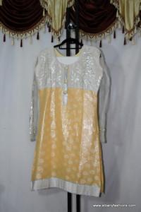 White Yellow netted Churidar Set