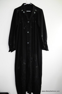 Black Abaya Jilbab Burka Fancy buttons