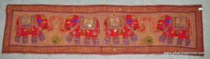 Indian Wall Hanging - Rectangle - Red 4 Elephants