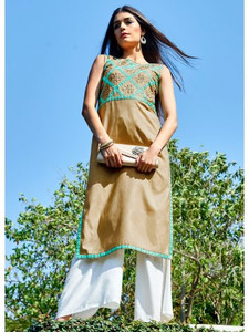 2015 Pakistani Long Kurti - Brown Sleevless
