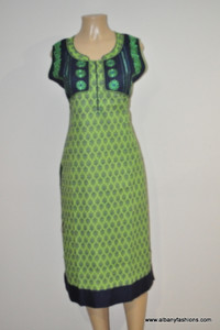 Albfas Designer Long Kurti - LightGreenBlack