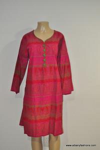 Albfas Designer Long Kurti - Pink