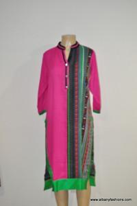Albfas Designer Long Kurti - PinkGreen