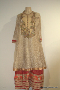2000 Anarkali Churidar Suit-Cream