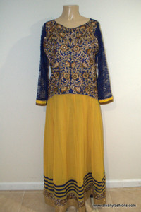 2869-Anarkali Churidar Suit-Yellow